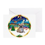 XmasMusic 3/Fr Bulldog 16 Greeting Card