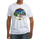 XmasMusic 3/Fr Bulldog 16 Fitted T-Shirt