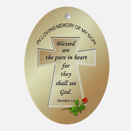 In Loving Memory of My Son Oval Ornament