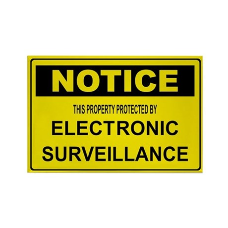 WARNING SURVEILLANCE CAMERA Rectangle Magnet (100