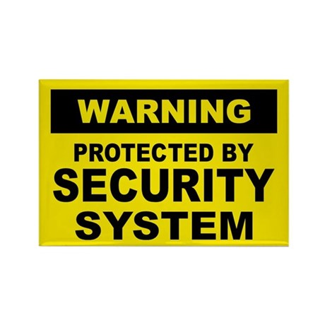 SECURITY SYSTEM SIGN Rectangle Magnet