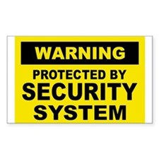 SECURITY SYSTEM SIGN Rectangle Stickers