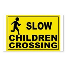 SLOW CHILDREN CROSSING Rectangle Decal