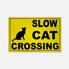 SLOW CAT CROSSING Rectangle Magnet