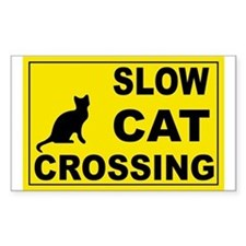 SLOW CAT CROSSING Rectangle Decal