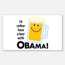 Beer with Obama Rectangle Decal