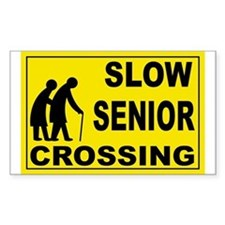 SLOW SENIOR CROSSING Rectangle Decal
