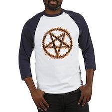 Burning Inverted Pentagram Baseball Jersey