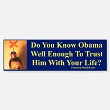 """""""Trust Obama?"""" Bumper Bumper Bumper Sticker"""