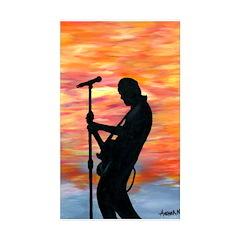 Rock Guitarist at Sunset Rectangle Sticker 10 pk)