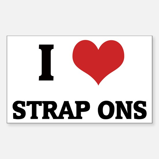 I Love Strap Ons Rectangle Decal