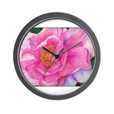 Pink Peony Drawing: Wall Clock