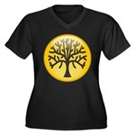 Tree In Amber Women's Plus Size V-Neck Dark T-Shir