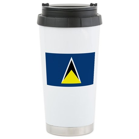 St Lucia Flag Stainless Steel Travel Mug