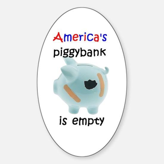 America 's piggybank Oval Decal