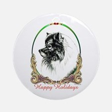 Keeshond Happy Holidays Ornament (Round)