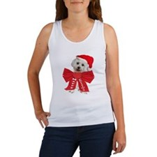 Maltese Wears Red Bow Women's Tank Top