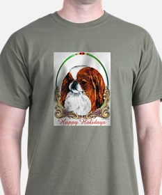 Red Japanese Chin Happy Holidays T-Shirt