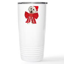 Maltese Wears Red Bow Travel Mug