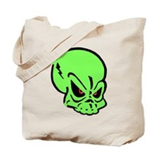 Painted Green Skull Tote Bag