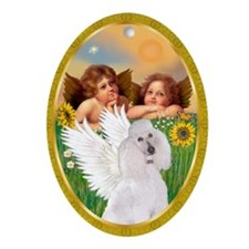 Two Angels/ Poodle (WST-Ch) Oval Ornament