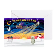 XmasStar/White Poodle Greeting Card