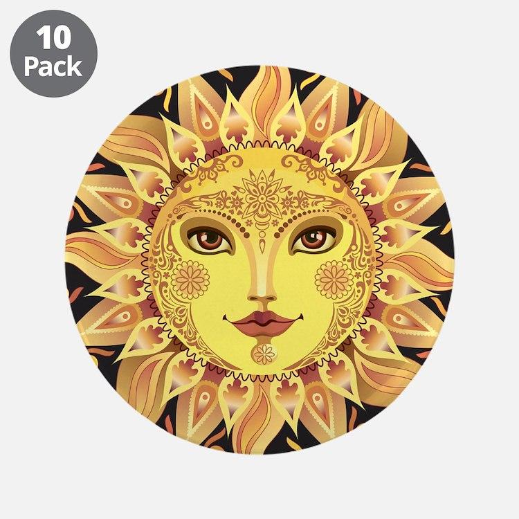"""Stylish Sun 3.5"""" Button (10 pack)"""