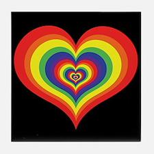 Retro Rainbow Heart Tile Coaster