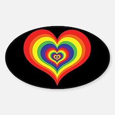 Retro Rainbow Heart Oval Decal