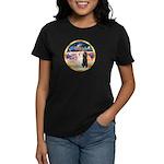 XmasMagic/2 Std Poodles Women's Dark T-Shirt