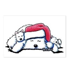 Exhausted Holiday Westies Postcards (Package of 8)