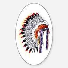 Indian Chief Headdress Oval Decal