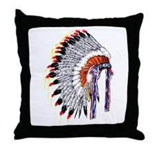 Indian Chief Headdress Throw Pillow