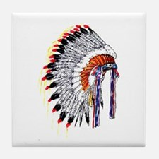 Indian Chief Headdress Tile Coaster