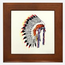Indian Chief Headdress Framed Tile