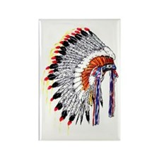 Indian Chief Headdress Rectangle Magnet