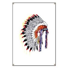 Indian Chief Headdress Banner