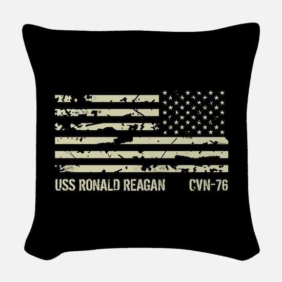 USS Ronald Reagan Woven Throw Pillow