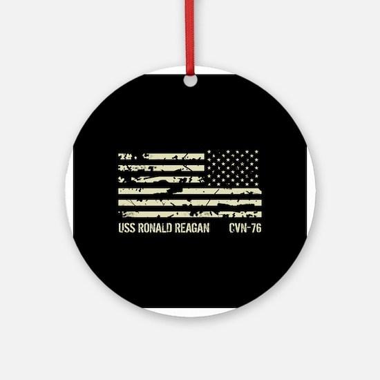 USS Ronald Reagan Round Ornament