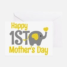 1st Mother's Day Elephant Yellow Greeting Cards