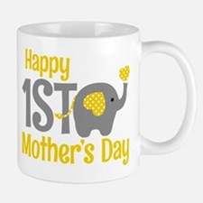 1st Mother's Day Elephant Yellow Mugs