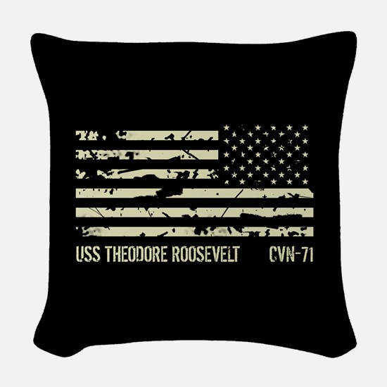 USS Theodore Roosevelt Woven Throw Pillow