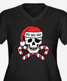 Christmas Pirate Women's Plus Size V-Neck Dark T-S