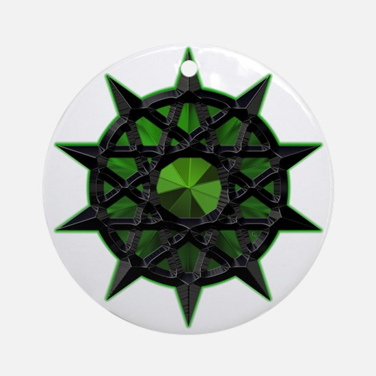 Green Tribal Balance Pents Ornament (Round)