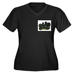 Black Silkie Bantams Women's Plus Size V-Neck Dark