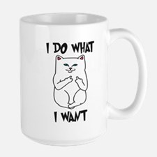 Cat Flipping Off Middle Finger Mugs