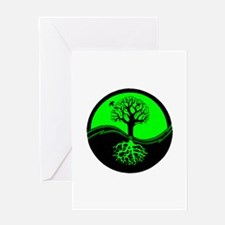 Think Green Yin Yang Greeting Card