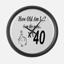 Funny 40 years old Large Wall Clock