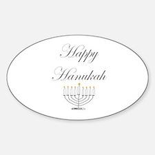 Happy Hanukah Menorah Oval Decal
