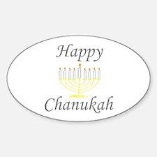 Happy Chanukah Menorah Oval Decal